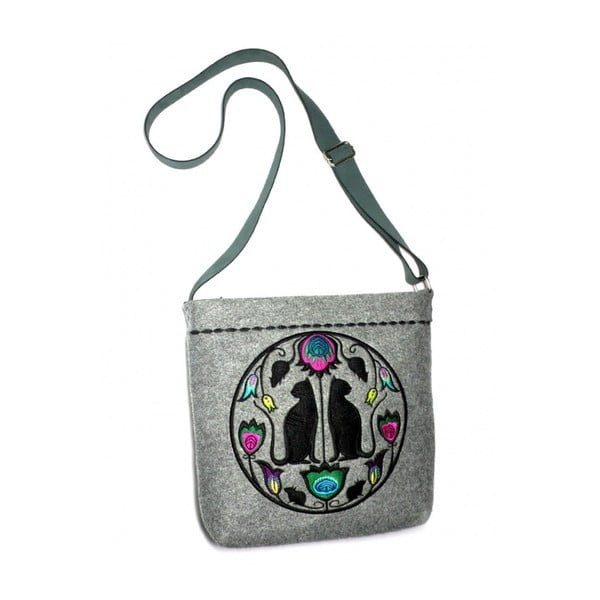 Plstená vyšívaná kabelka Goshico Folk Mačky