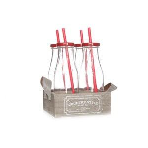 Prepravka so 4 červenými fľašami Cosy&Trendy  Country Style