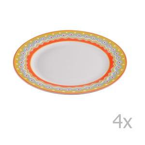 Sada 4 porcelánových dezertných tanierikov Oilily 19 cm, žltá