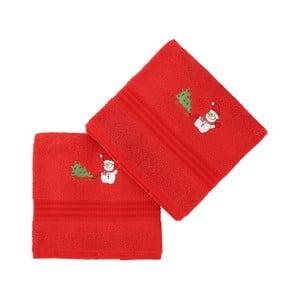 Sada 2 červených vianočných uterákov Snowy, 70x140 cm