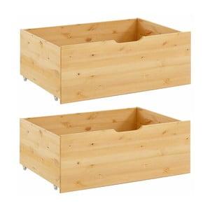 Sada 2 zásuviek pod posteľ z masívneho borovicového dreva Støraa Barney