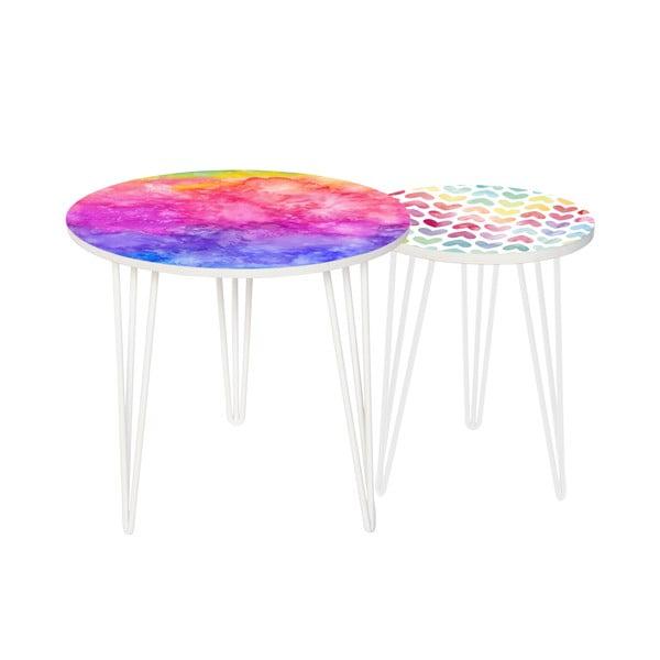 Sada 2 odkladacích stolíkov Rainbow Watercolour, 35 cm + 49 cm
