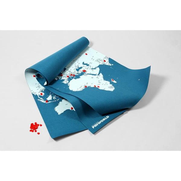 Modrá nástenná mapa sveta Palomar Pin World XL, 198 x 124cm