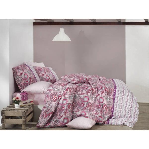 Bavlnené obliečky s plachtou Violetta Pink, 200x220cm