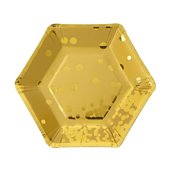 Sada 8 papierových tanierov Talking Tables Hexagonal Gold