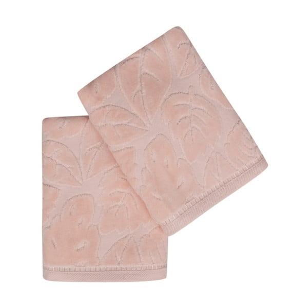 Sada 2 lososových uterákov z bavlneného saténu Madame Coco Velver, 50×90cm