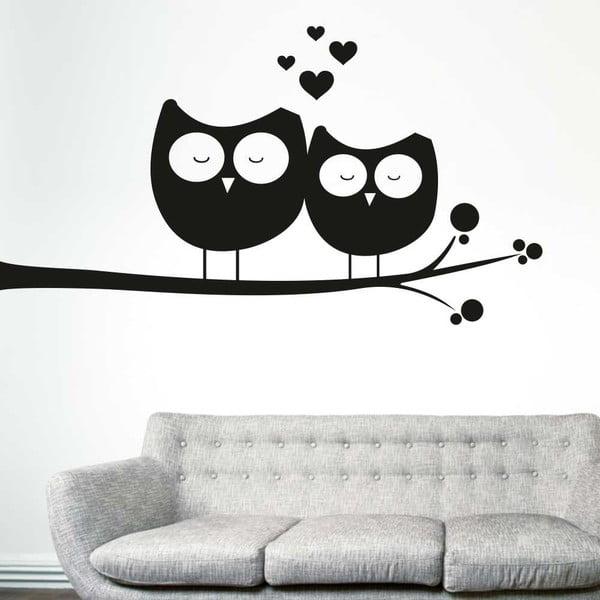 Samolepka na stenu Zamilované sovy, pravá strana