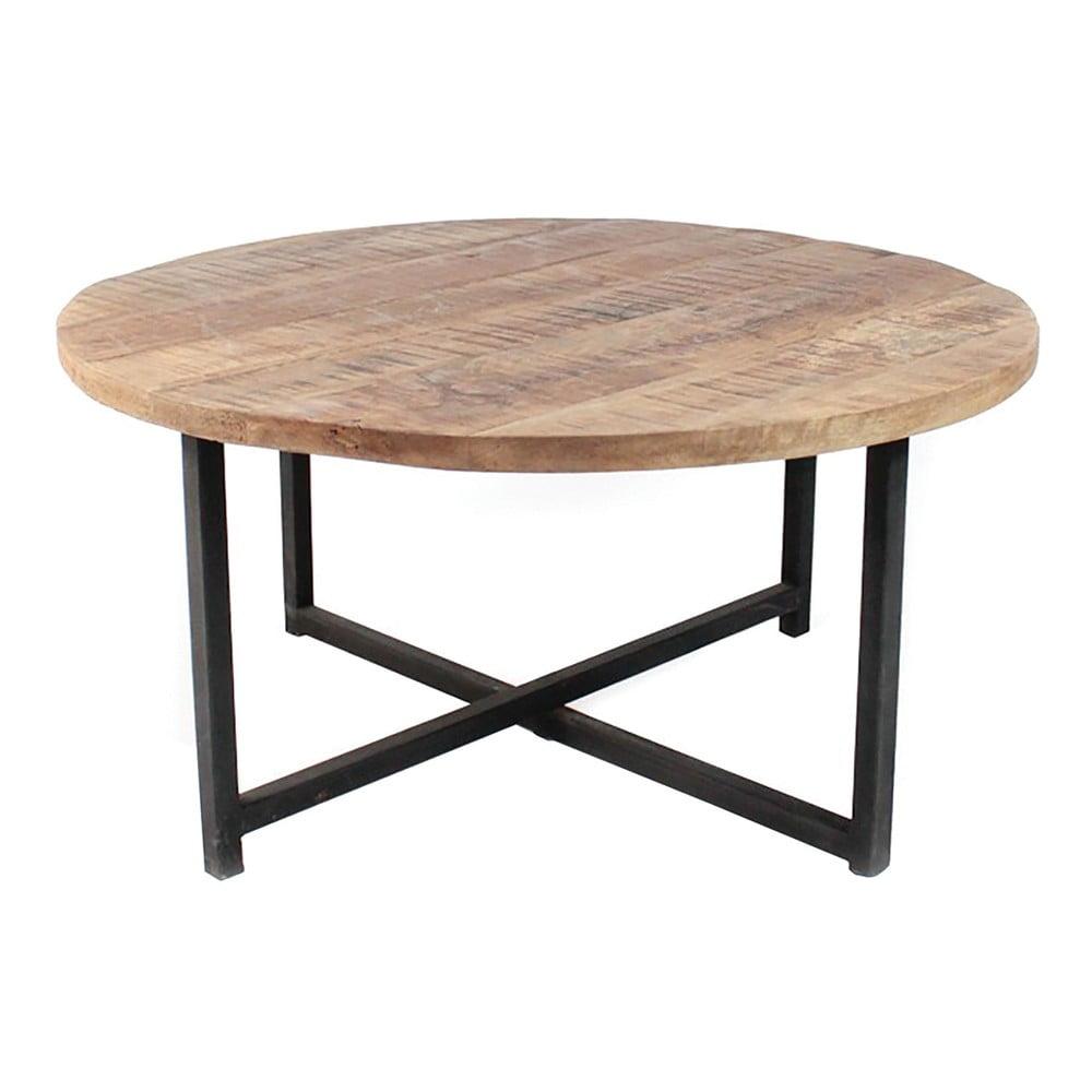 Čierny konferenčný stolík s doskou z mangového dreva LABEL51 Dex, ⌀ 60 cm