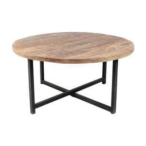 Čierny konferenčný stolík s doskou z mangového dreva LABEL51 Dex, Ø60 cm