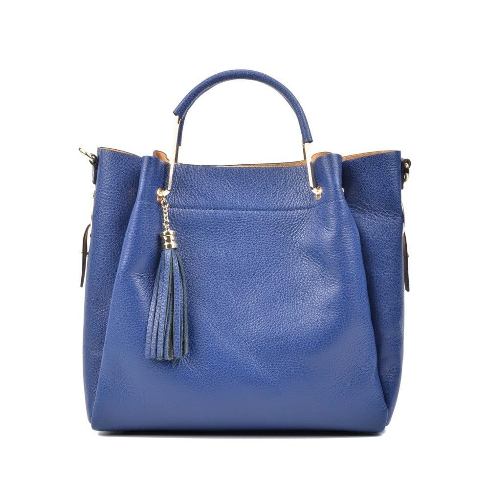 Modrá kožená kabelka Carla Ferreri Zita