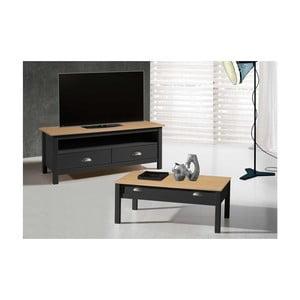Sivý TV stolík zborovicového dreva s 2 zásuvkami SOB Jayde