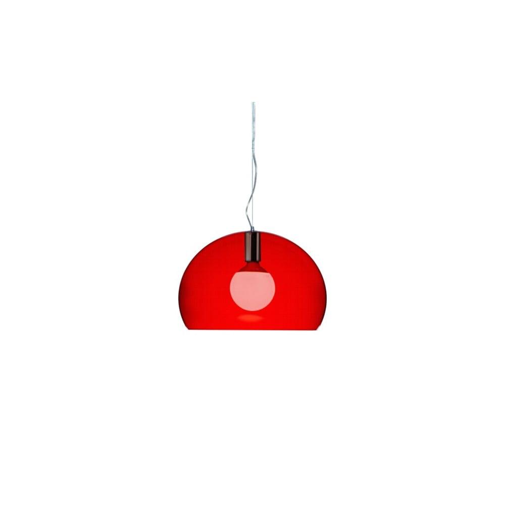 Menšie červené stropné svietidlo Kartell Fly