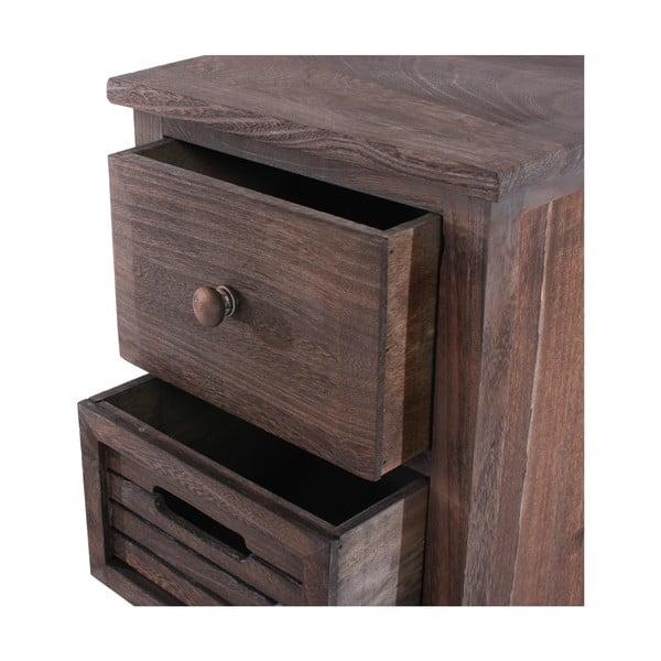 Hnedá drevená komoda so 4 zásuvkami Mendler Shabby