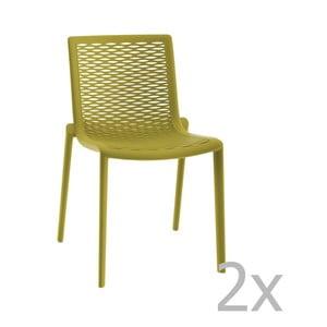 Sada 2 zelených záhradných jedálenských stoličiek Resol Net-Kat