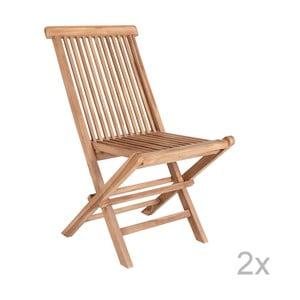 Sada 2 vonkajších jedálenských stoličiek z teakového dreva House Nordic Toledo