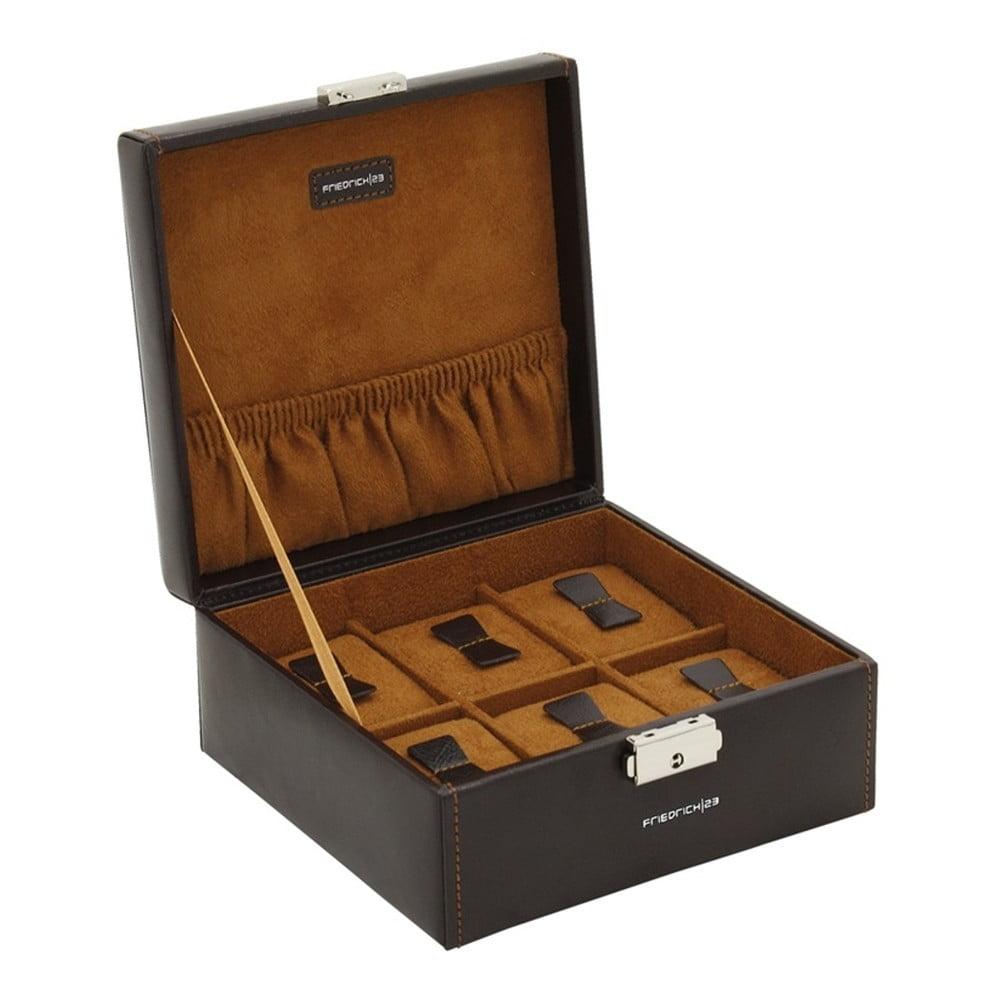Čierny box na 6 hodiniek s hnedým čalúnením Friedrich Lederwaren