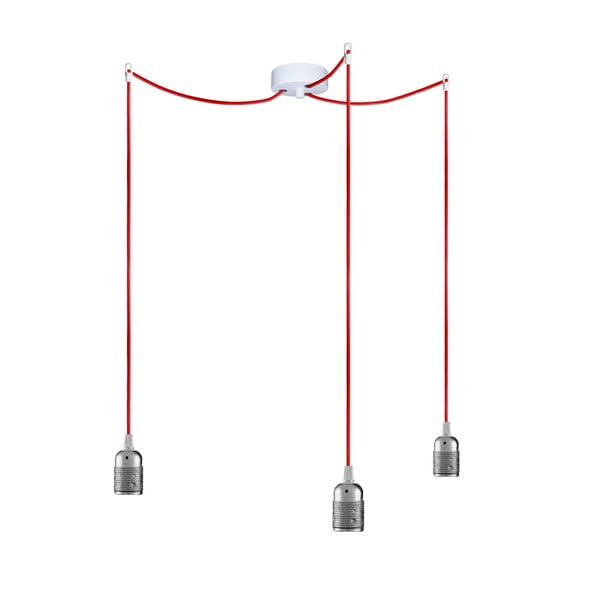 Tri závesné káble Uno, strieborná/červená/biela