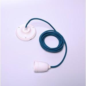Modrý kábel na stropné svietidlo s bielou objímkou Filament Style Diamond