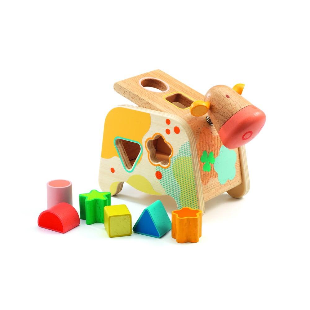 Detská drevená skladacia hračka Cow
