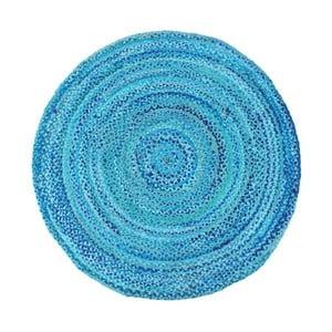 Modrý bavlnený okrúhly koberec Eco Rugs, Ø 120 cm
