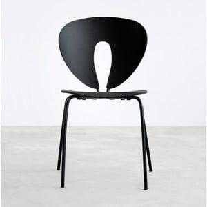 Čierna stolička s čiernymi chrómovanými nohami Stua Globus
