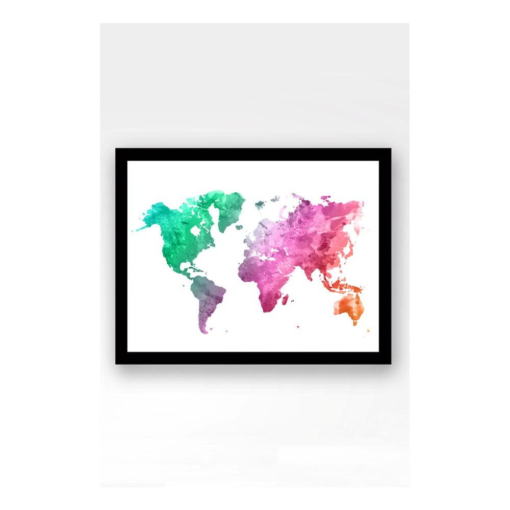 Nástenný obraz na plátne v čiernom ráme Tablo Center World, 29 × 24 cm