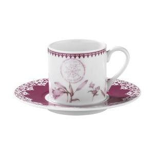 Sada 6 porcelánových šálok s tanierikom Kutahya Rose Floral, 50 ml