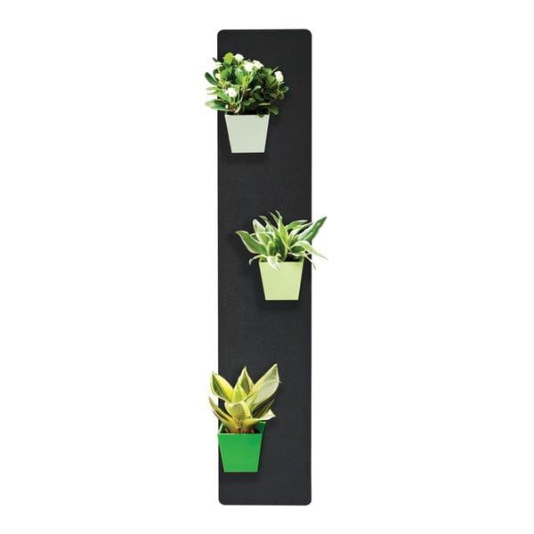 Podstavec na magnetické kvetináče, čierny, 14x70 cm