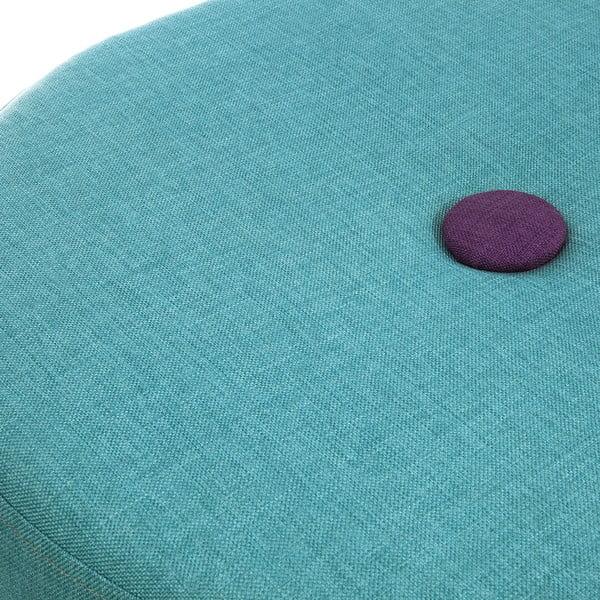 Sedacia taburetka Douda, tyrkysová s fialovým gombíkom