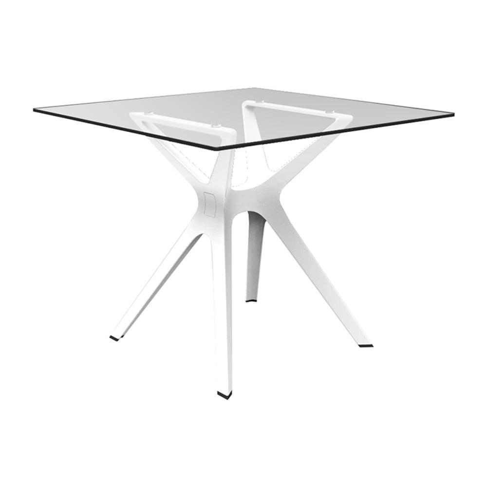 Biely jedálenský stôl so sklenenou doskou vhodný do exteriéru Resol Vela, 90 × 90 cm