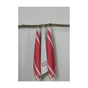Sada 3 červeno-bielych kuchynských utierok My Home Plus Flowers, 50×70 cm