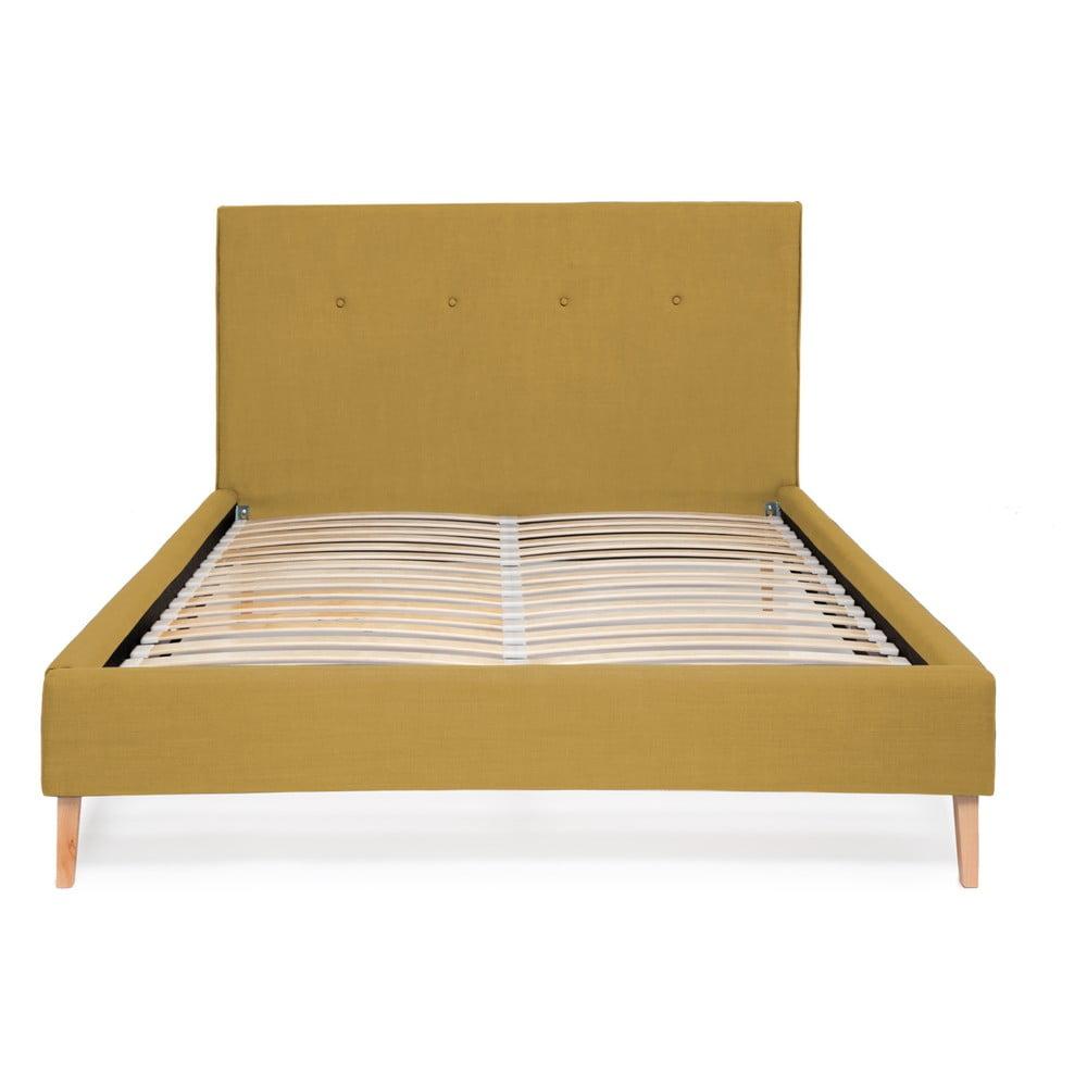 Kukuričnežltá posteľ Vivonita Kent Linen, 200 × 180 cm