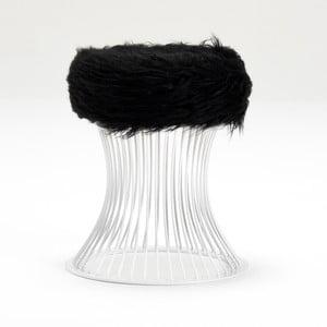 Taburetka z čiernej umelej kožušiny Balcab Home Milly