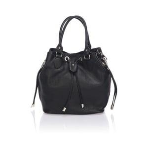 Kožená kabelka Bucketino, čierna