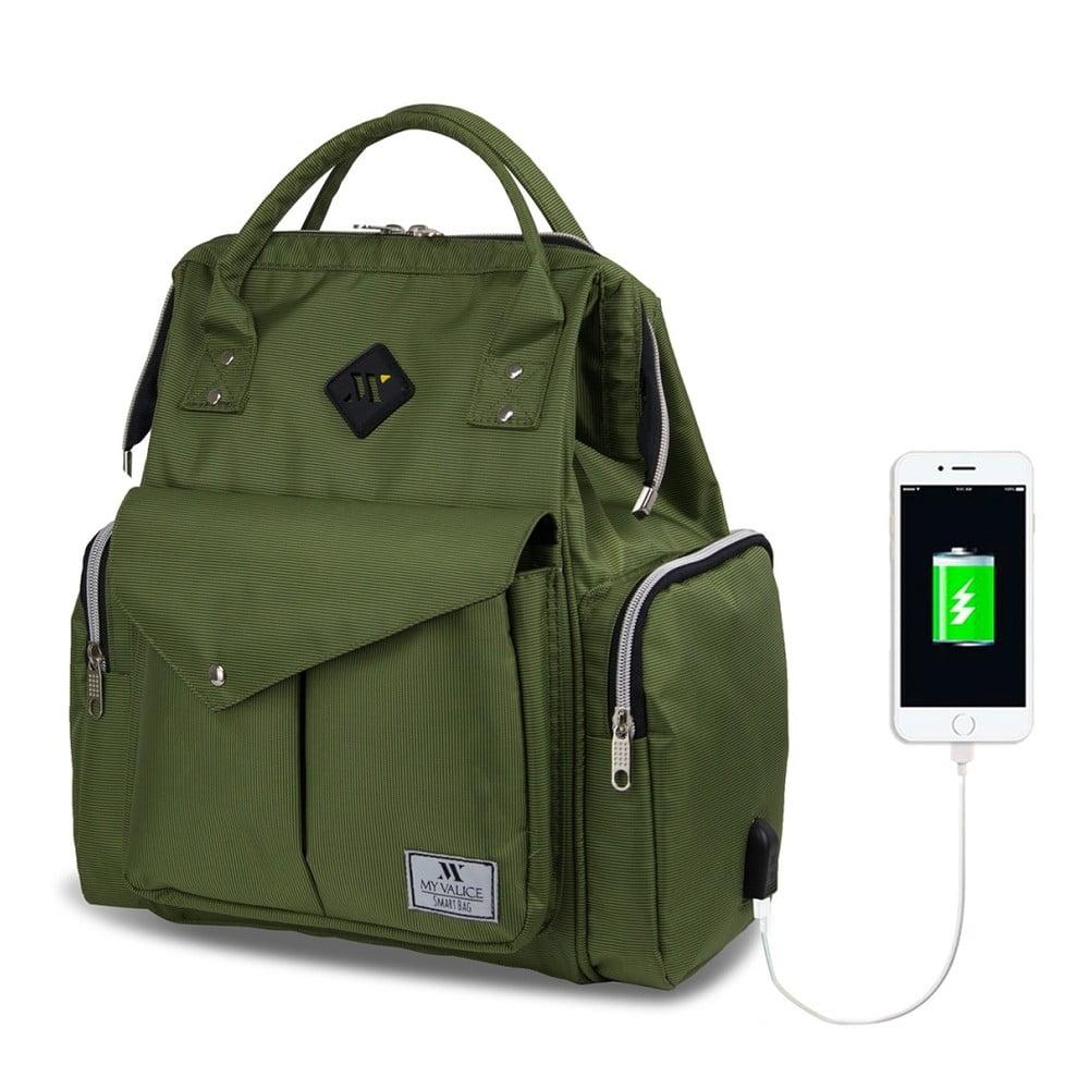 Zelený batoh pre mamičky s USB portom My Valice HAPPY MOM Baby Care Backpack