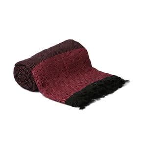 Čierno-ružový ručne tkaný pléd Spa Time, 210x240cm