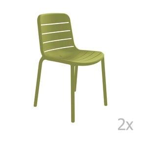 Sada 2 zelených záhradných stoličiek Resol Gina