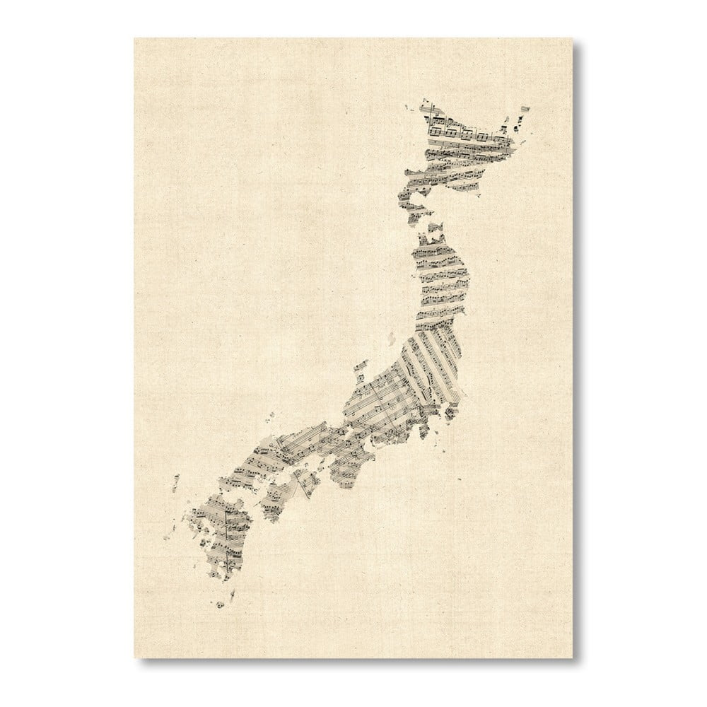 Plagát so sivou mapou Japonska Americanflat Music, 60 × 42 cm