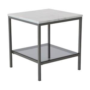 Mramorový konferenčný stolík so sivou konštrukciou RGE Ascot, 50 x 50 cm