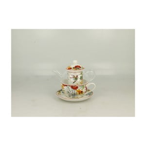 Set sklenenej kanvičky a porcelánového hrnčeka s tanierikom Duo Gift Linnea