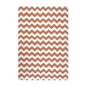 Vlnený koberec Geometry Zic Zac Orange & White, 160x230 cm