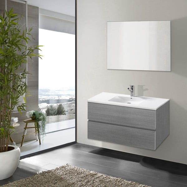 Kúpeľňová skrinka s umývadlom a zrkadlom Flopy, odtieň sivej, 80 cm