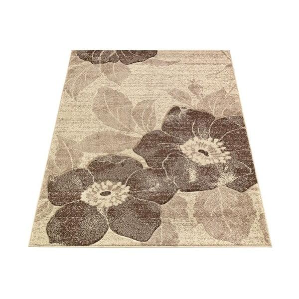 Koberec Webtappeti Intarsio Brown Flower, 160×230cm