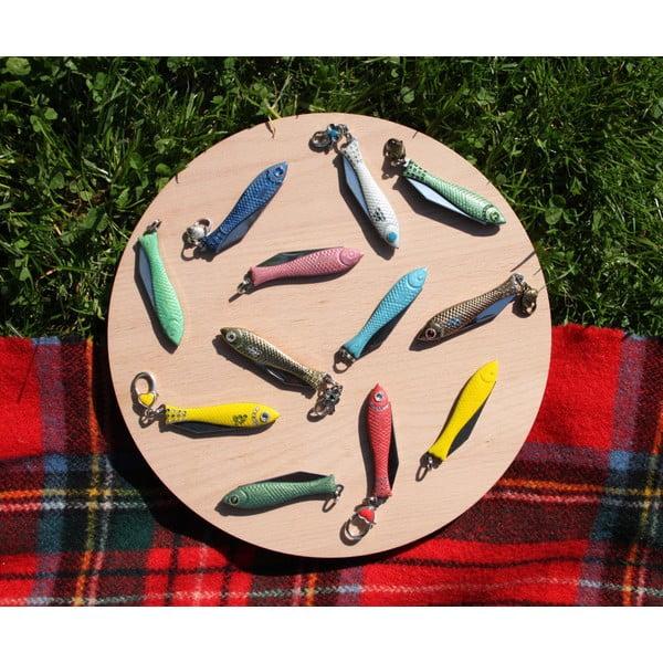Vianočný český nožík rybička so strieborným okom, v plechovej krabičke