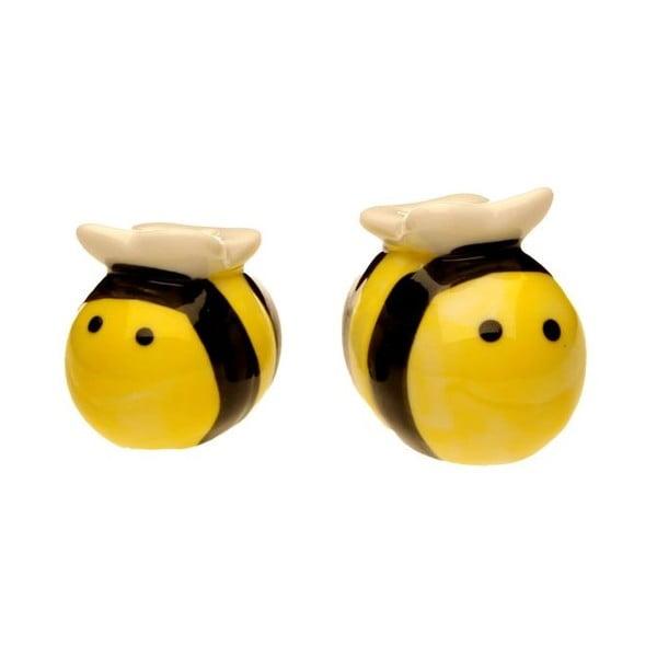 Soľnička a korenička v tvare včeličiek v darčekovom balení Just Mustard Meant to Bee