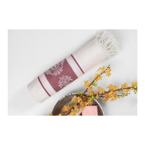 Vínovo-béžová hammam osuška Deco Bianca Loincloth Burgundy, 80x170cm