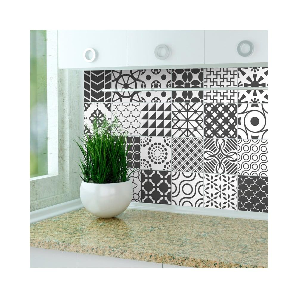 Sada 24 nástenných samolepiek Ambiance Stickers Cement Tile Gray Lindos, 15 × 15 cm