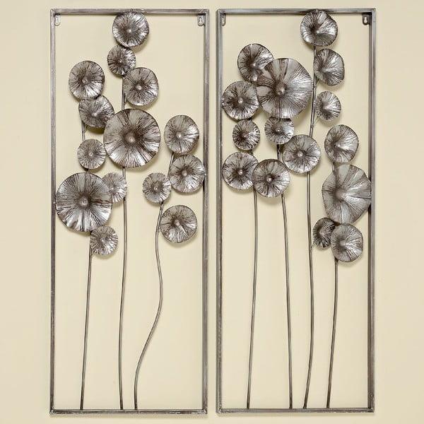 Sada 2 nástenných dekorácií Flowers