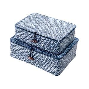 Sada 2 modrých úložných košíkov z trstiny Compactor