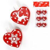 Sada 6 dekoratívnych vianočných srdiečok Unimasa